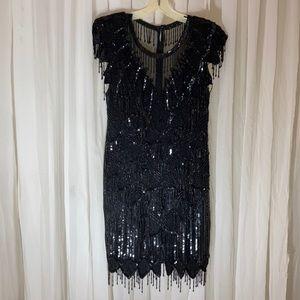Scala Beaded Dress, Vintage 1980's EUC